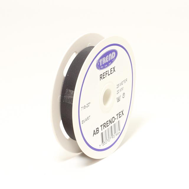 Reflexband svart 20mm sy