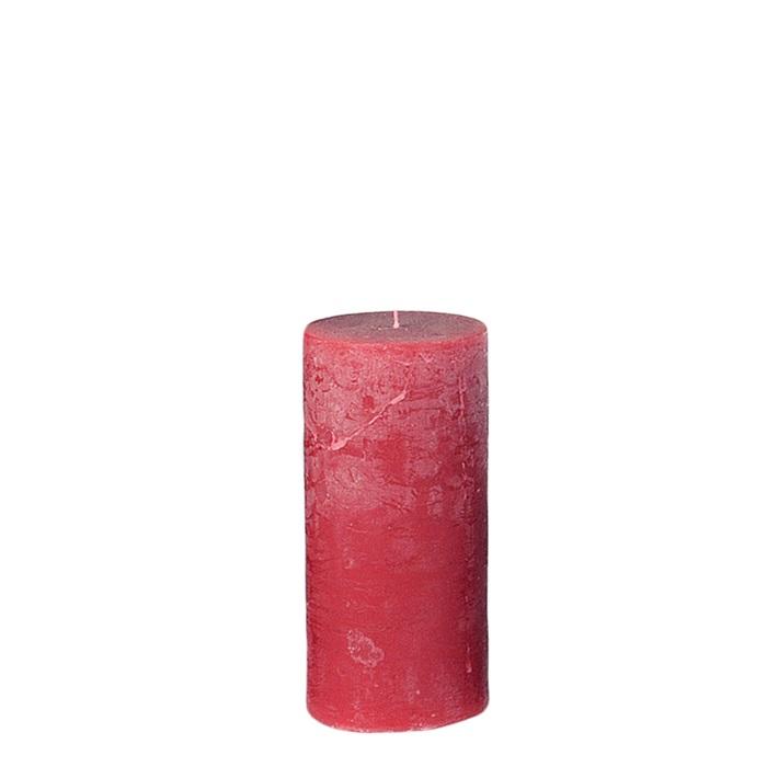 Blockljus rustik röd 14 CM