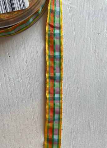 Dekorationsband gul grön rutig 15mm