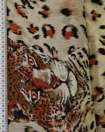 Viskosväv beige med orange leopard ansikte