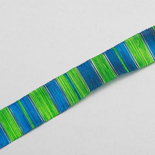 Organzaband randig grön blå 15mm