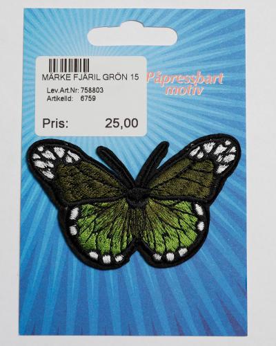 Märke Fjäril Grön 15