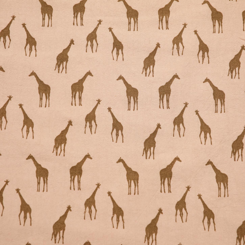 Bomullstryck Beige med giraff