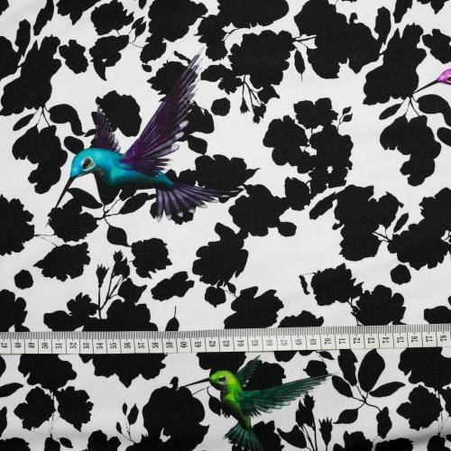 trikåtyg med kolibrir