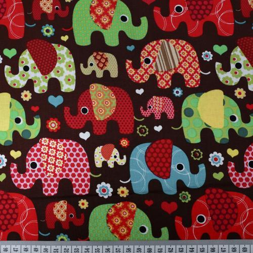 Bomullstryck Färgglada elefanter