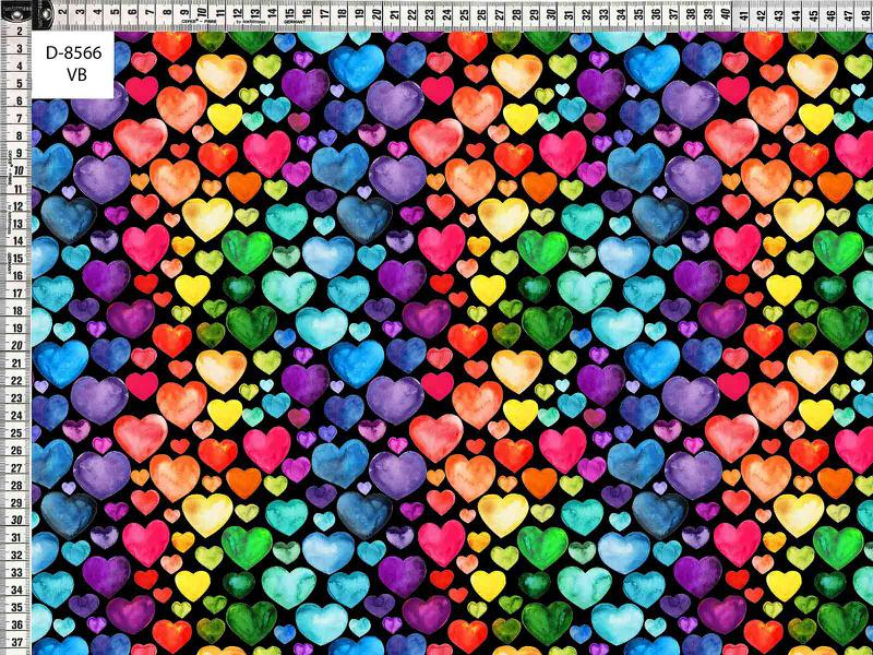 Trikå Färgglada hjärtan svart 150cm