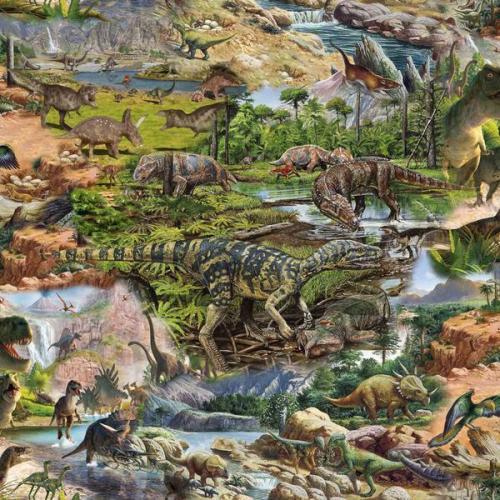 trikåtyg med dinosaurie