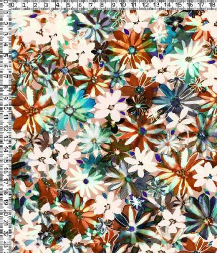 Viskosväv Vit blå blommor