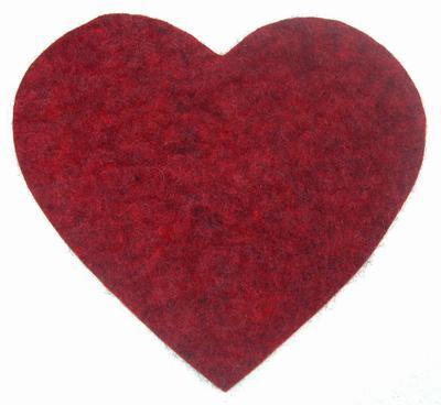 Grytunderlägg, hjärta. Röd