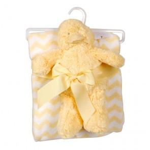 Babydjur med pläd gul
