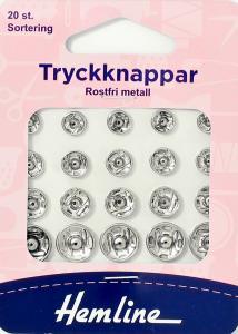 TRYCKKNAPPAR SORT. FÖRNICK - 20 ST.