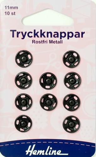 TRYCKKNAPPAR 11 MM SVARTA