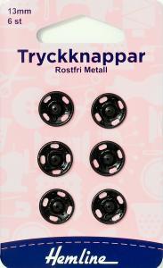 TRYCKKNAPPAR 13 MM SVARTA