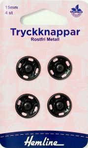 TRYCKKNAPPAR 15 MM SVARTA