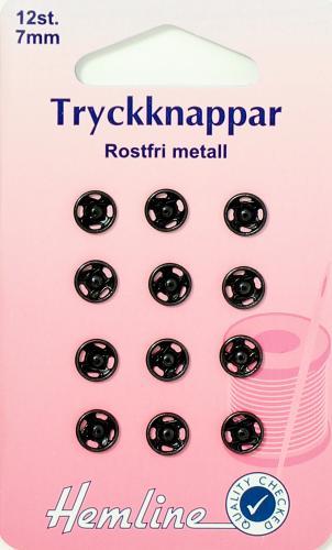 TRYCKKNAPPAR 7 MM SVARTA