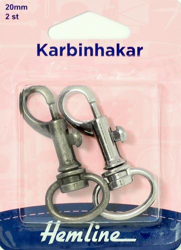KARBINHAKE 2 x 20 MM SORT.