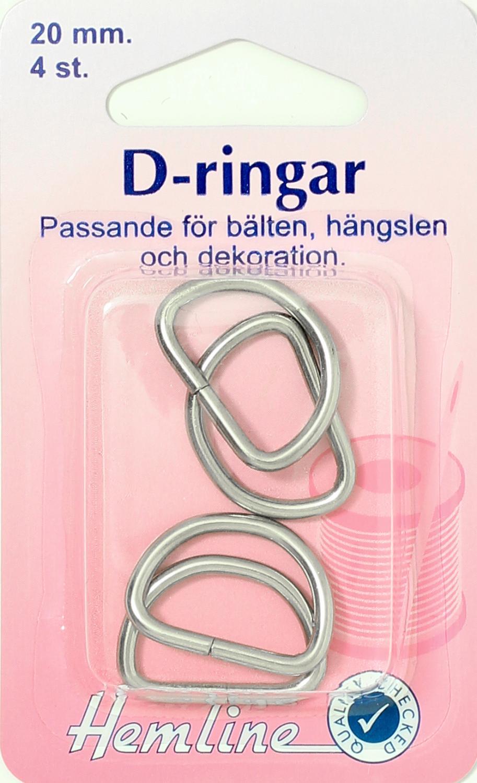 D-RING 4 X 20 MM FÖRNICKLAD
