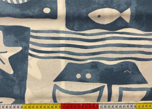 Stor marin mönster blå bomväv 150cm
