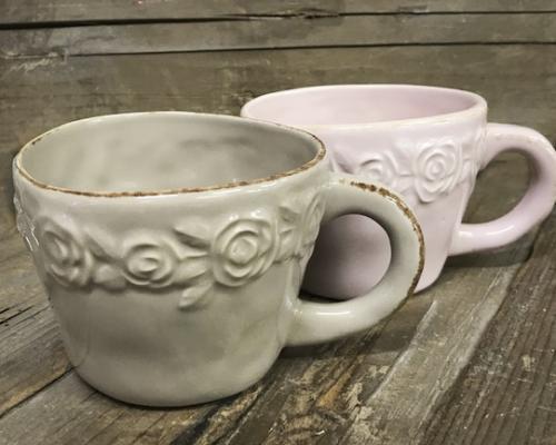 Tekopp med rosor i keramik, Khaki