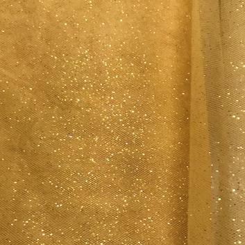Tyll mjuk orange glitter 80 150cm