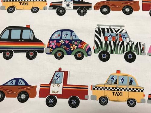 Bomullstyg med bilar