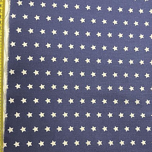 Bomullstyg blått med vita stjärnor