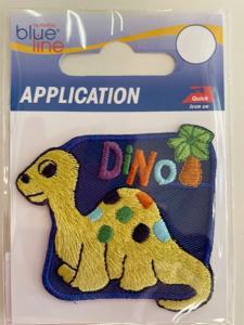 Brodyrmärke med en gul Dino.