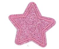 Brodyrmärke glitterstjärna i rosa, 4,5cm