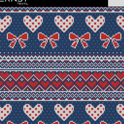 Trikå Stickad Rosett o Hjärta Blå röd 150cm