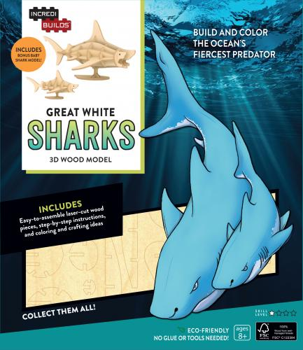 Great White Sharks 3D Wood Model