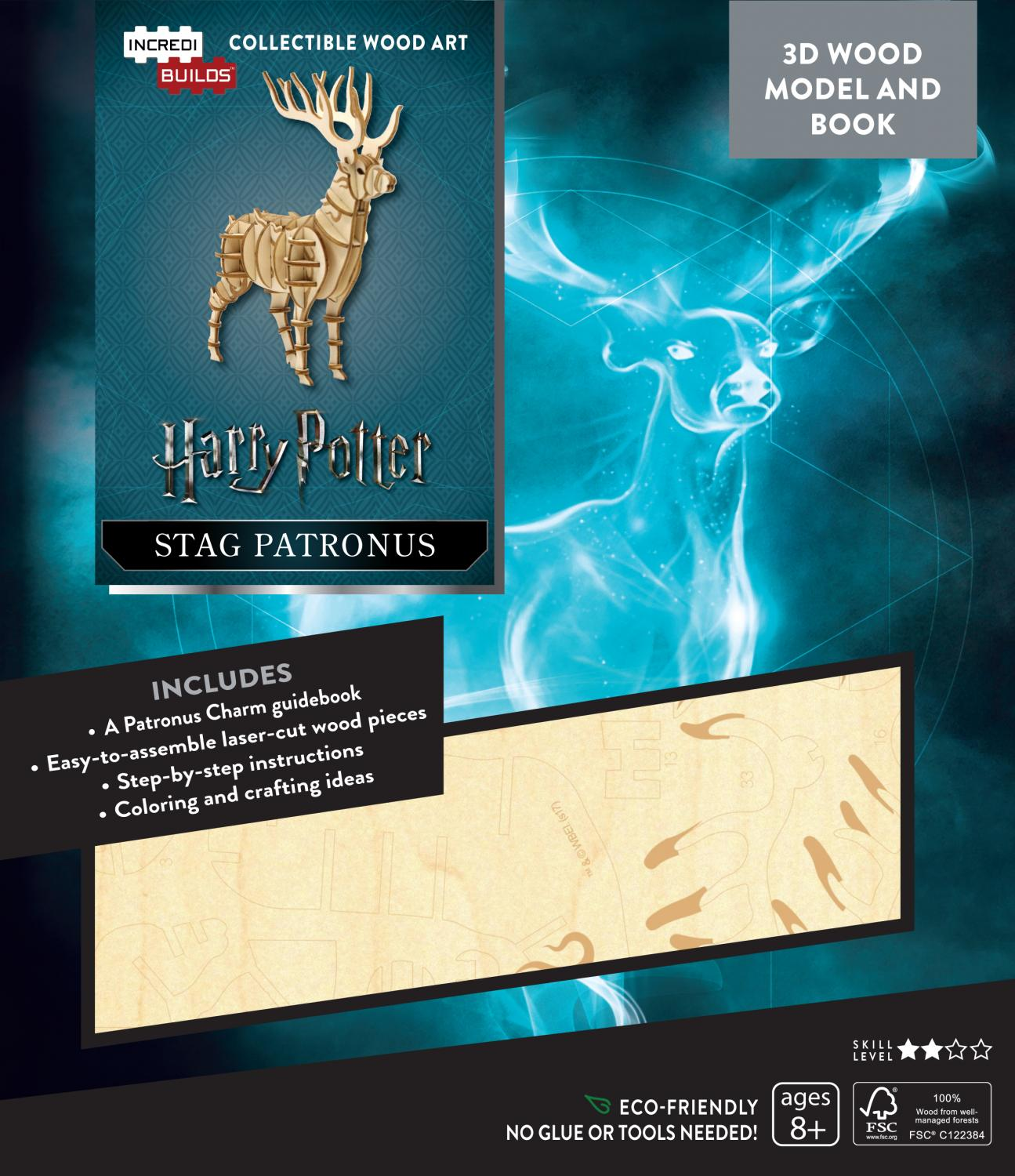 Harry Potter: Stag Patronus 3D Wood Model and Book