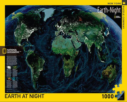 """Pussel National Geographic """"Earth at Night"""" 1000 bitar"""