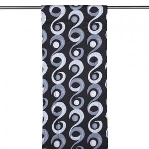 Panelgardin RINGO, vågformade rankor, grå/svart