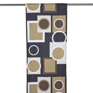 Panelgardin FORM, cirklar & rektanglar, brun