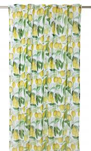 Gardinlängd med citronmönster i tunn skir kvalité, gul