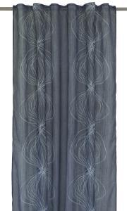 Gardinlängd Blue Wave, tunn skir med grafiskt mönster, blå