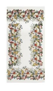 Bordslöpare från Svanefors vit med mönster av blommor