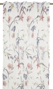 Gardinlängd Malli, tunn skir, med blommor, rosa
