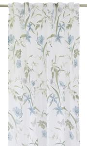 Gardinlängd Malli, tunn skir, med blommor, blå