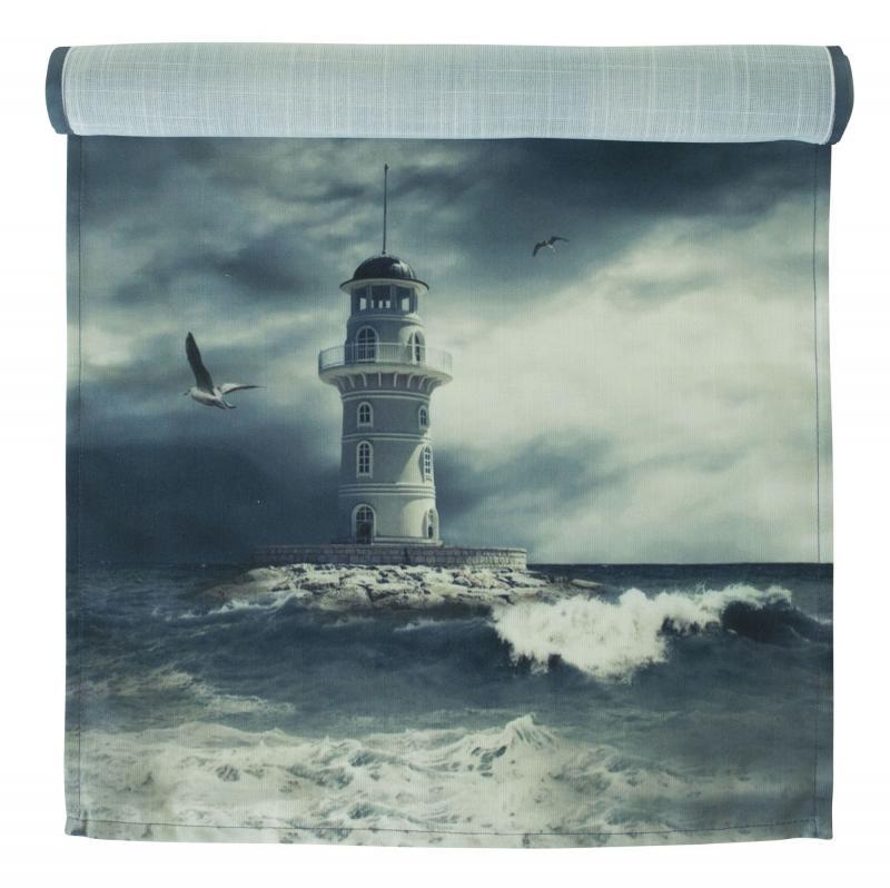 Bordslöpare Ocean Waves med motiv av en fyr, blå