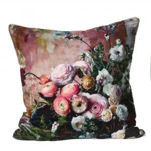 Kuddfodral Malina, blommor i vackra färger på mjuk bomullssammet, rosa