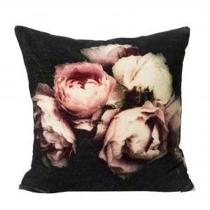 Kuddfodral Samhy,  vackra rosa blommor på svart botten