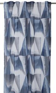 Gardinlängd Hamim, tunn med grafiskt mönster, blå