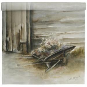 Bordslöpare Blom i gammal skottkärra, multi