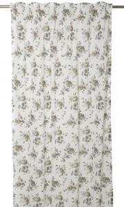 Gardinlängd Alina, små rosor i beige med grå blad.