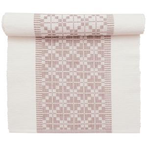 Bordslöpare i vitt och rosa med vackert mönster från Svanefors