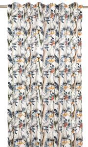 Gardinlängd Kakaduor i sammet, vit