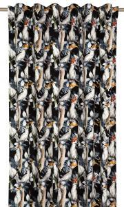 Gardinlängd Kakaduor i sammet, svart