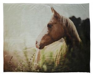 Pläd Horse i fleece med hästmotiv