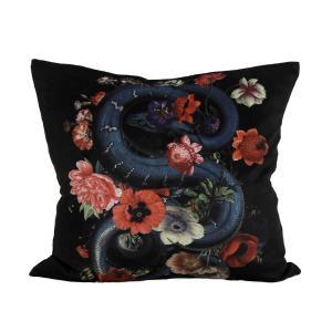 Kuddfodral Snakey, sammet, orm och blommor, svart